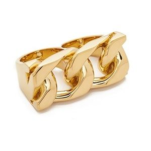 MARC JACOBS Runway NWT Double 2Finger Gold Ring ML